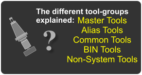 Master Tools Alias Tools Common Tools BIN Tools Non-System Tools The different tool-groups explained: ?