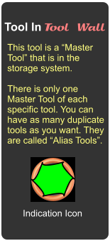 "Tool In Tool Wall This tool is a ""Master Tool"" that is in the storage system.  There is only one  Master Tool of each specific tool. You can have as many duplicate tools as you want. They are called ""Alias Tools"". Indication Icon"